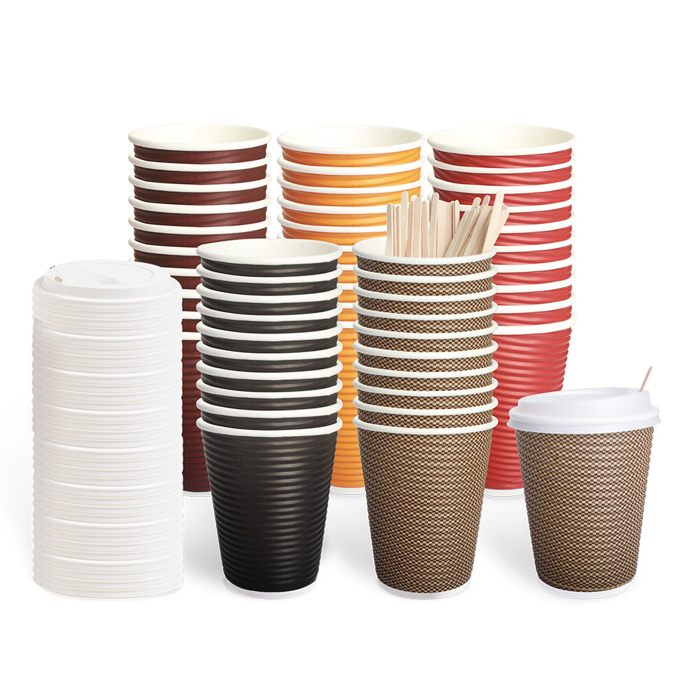 VOBAGA 12oz ripple coffee paper cups with PLA lids with Wooden Stir sticks 50 pack