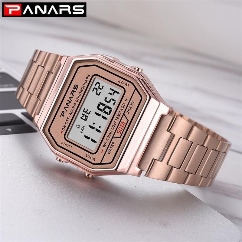 PANARS 50 M 방수 Custom Digital Unisex Watch Luxury 금 Relojes 드 Mujer Saat Erkek Men Watch
