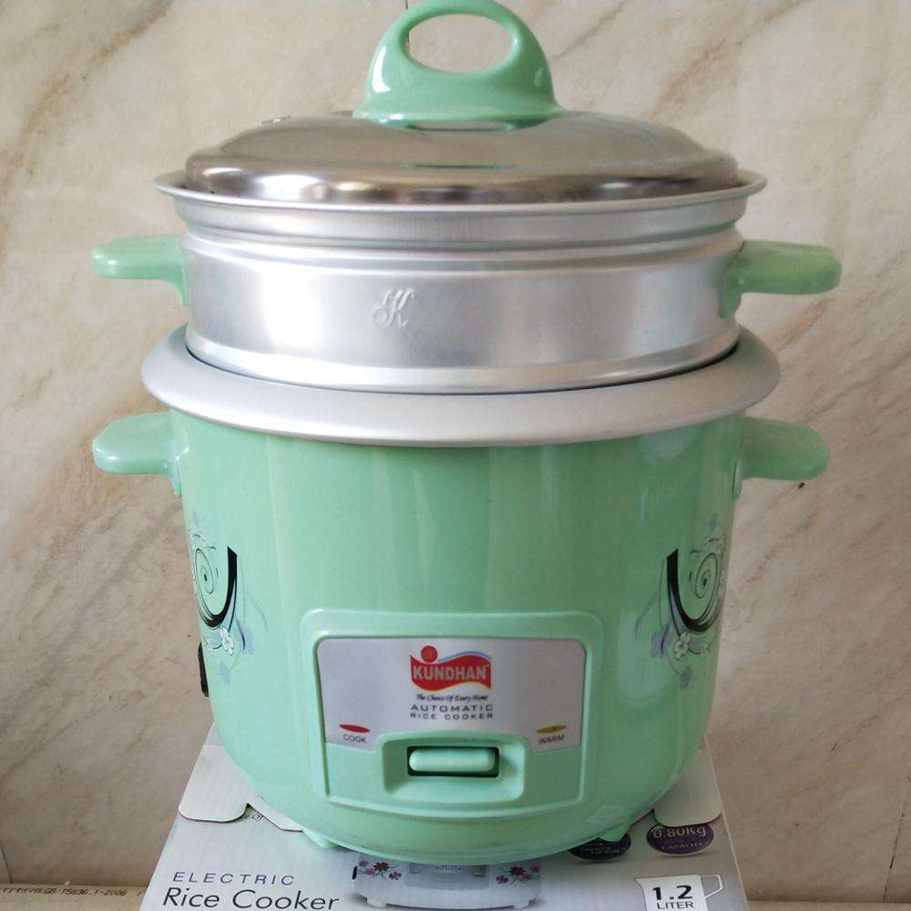 1.2L green color mini cooker automatic electric 2 layers drum rice cooker with ss lid inner pot