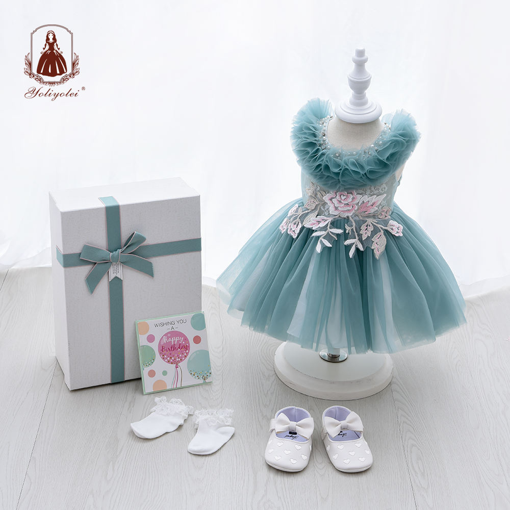 Wholesale Dresses Vintage Green Baby Clothing Sets Flowergirl Formal Children Party Dress With Gift Box