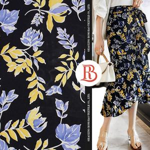 High quality ready to ship stocklot colorful floral rayon viscose fabric plain printed for women for cloth