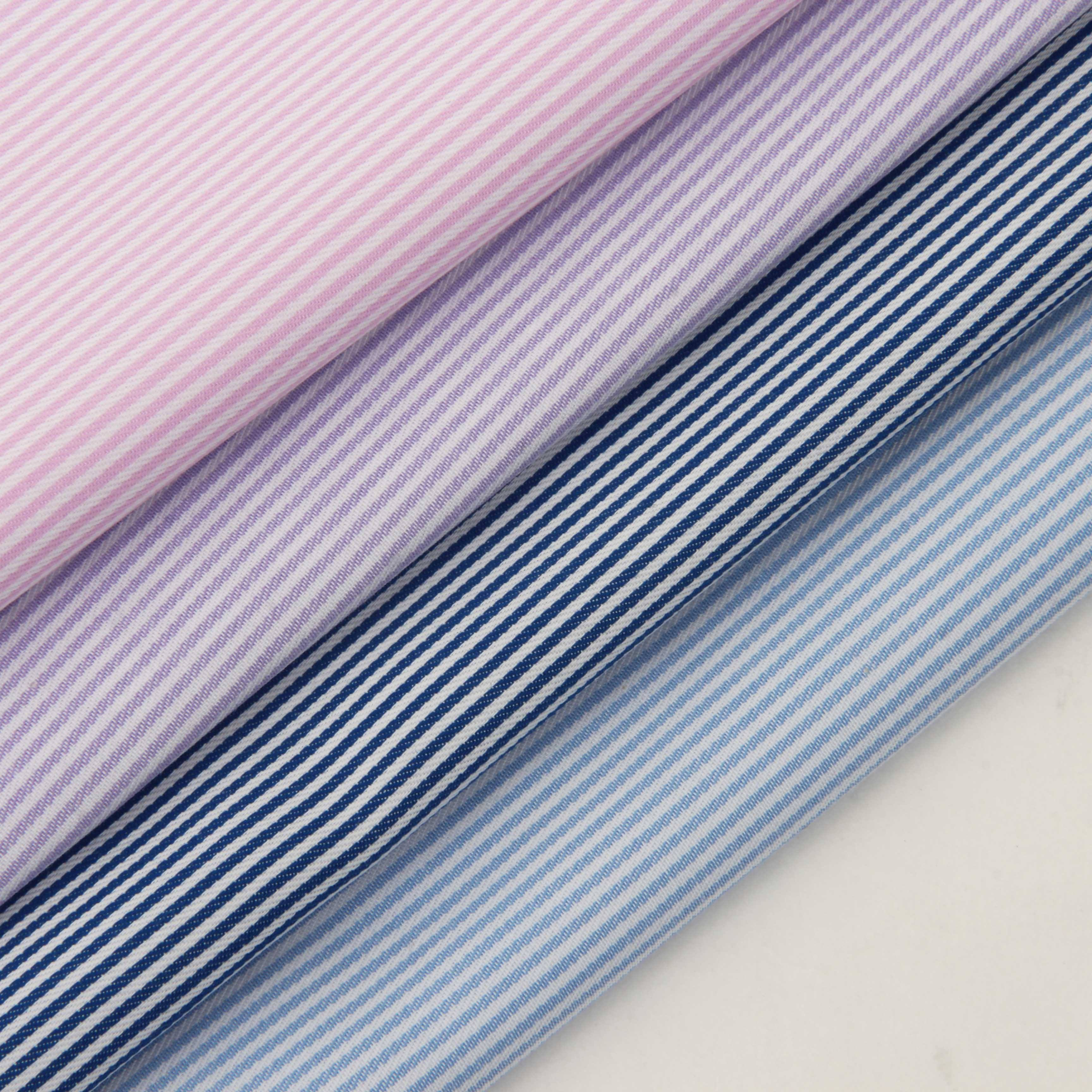 in stock 100% cotton yarn-dyed twill fabric Xinjiang long-staple cotton striped fashion shirt dress breathable woven fabric