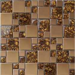 3D metal mosaic + glass mosaic