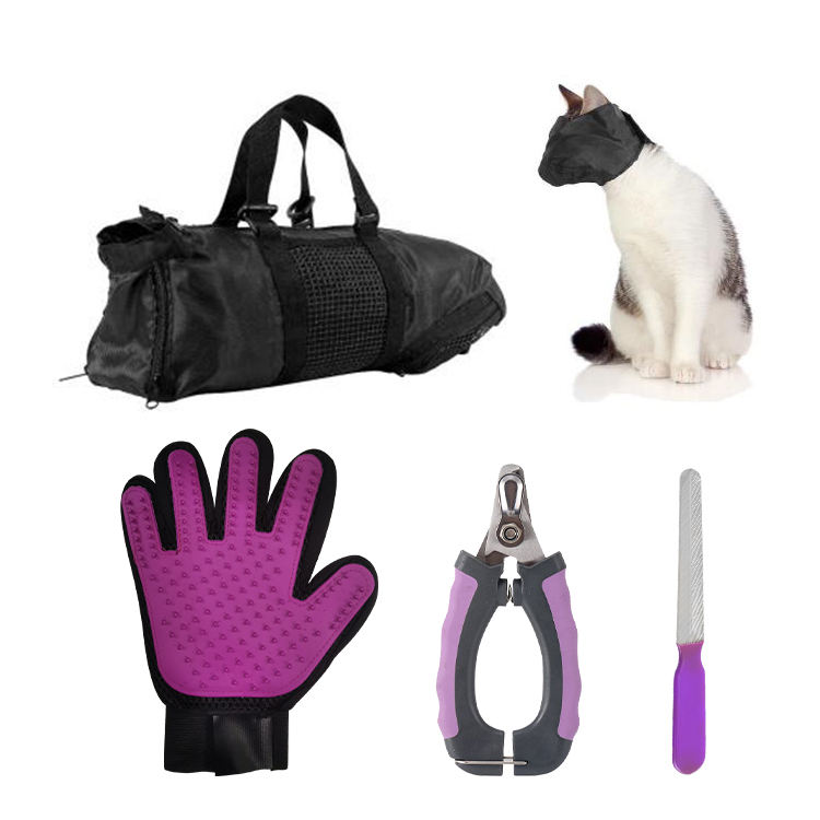 Pet <span class=keywords><strong>Grooming</strong></span> <span class=keywords><strong>Dog</strong></span> Cat Auto Pulizia Governare del Gatto Bag & Tunnel per Vasca Da Bagno, Iniezione, Chiodo Clipping