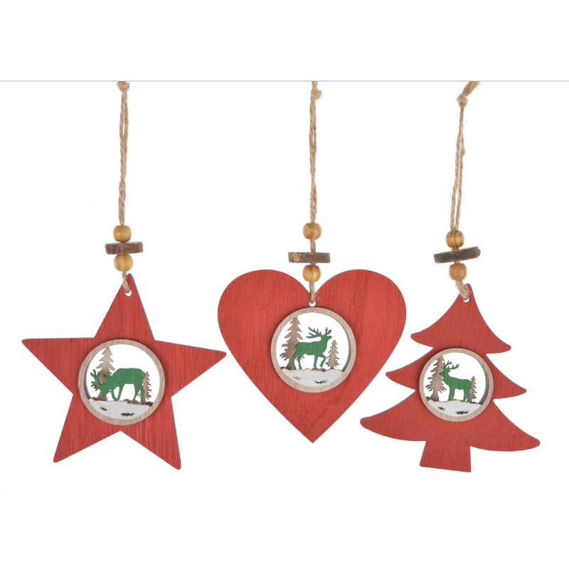 Popular Promotional handmade wooden red heart/star /christmas tree round hollow out christmas wall hanging decoration