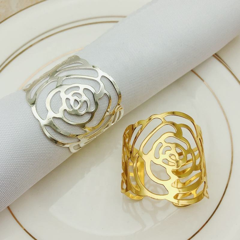 Cheap Rose Flower Napkin Rings Metal Napkin Holder Gold Wedding Napkin Rings for Dinner Party Bar Restaurant Table Decoration