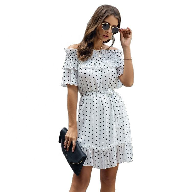 Fashion Casual Womens Ruffles Off Shoulder Polka Dot Printed Short Sleeve Dress With A Belt Elegant Knee Length Cocktail Dress