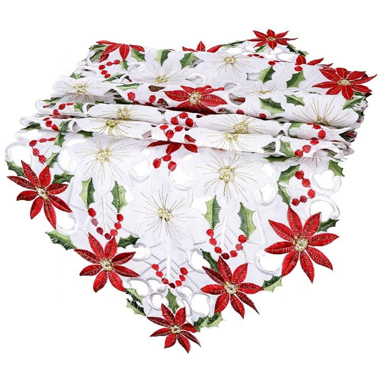 Beautiful embroidery floral heat resistant christmas wedding table runner