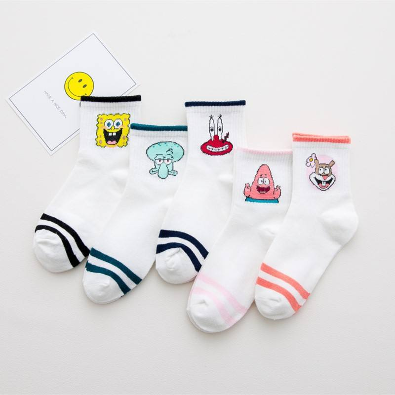 Fashion Cartoon Character Short Socks Girls Harajuku Cute Pattern Ankle Socks Funny Socks Women