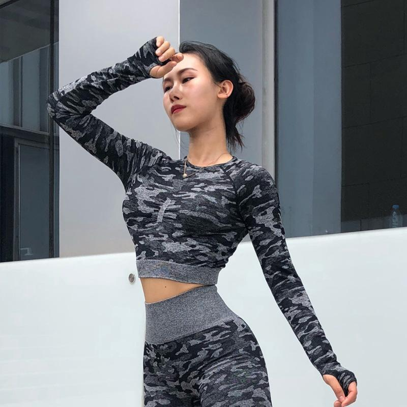 Hollow Women Slimming Running Fitness Clothes Long Sleeve Camouflage Sportswear Yoga Sports Tops