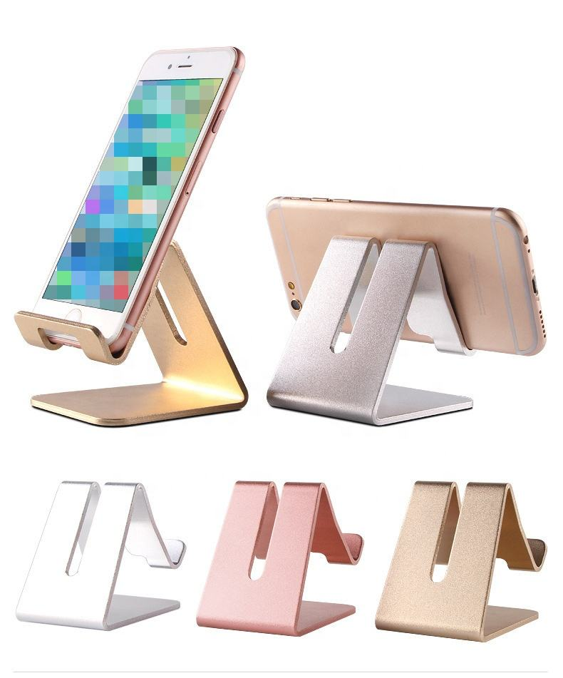 Aluminum Cell Phone Desk Stand Holder Desktop Solid Portable Universal Desk Stand for Mobile Phone Tablet Display Stand