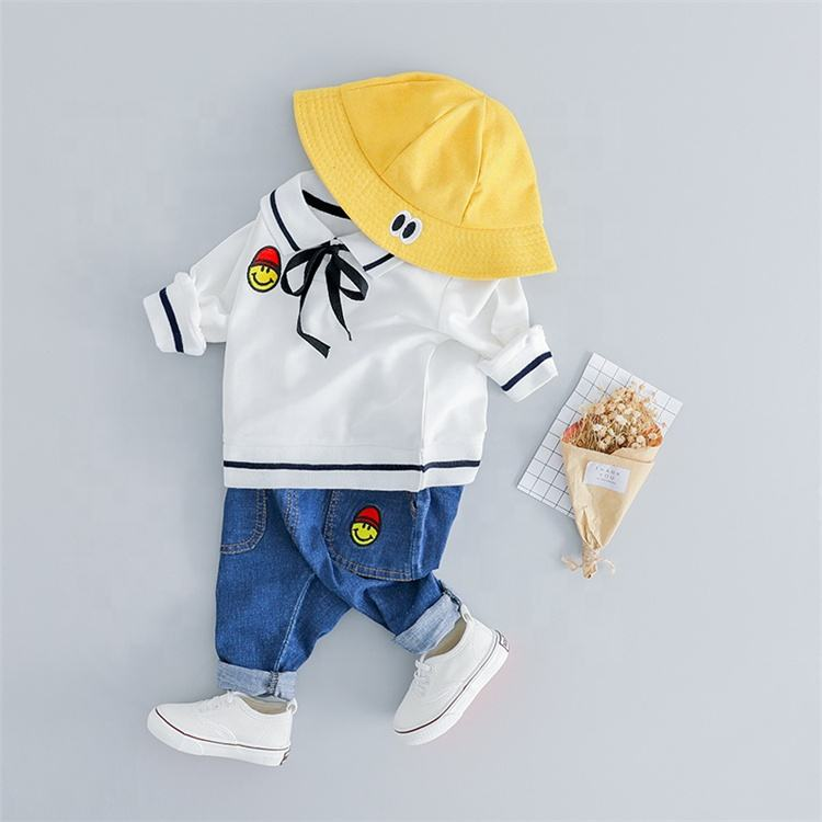 School uniform set or suit for boy with jeans pants famous kids clothing for boy clothing made in china
