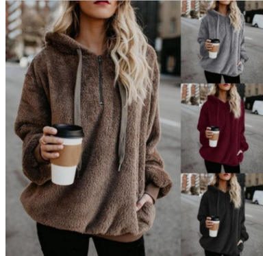 European and American long-sleeved hooded solid color women sweater fleece jacket coat