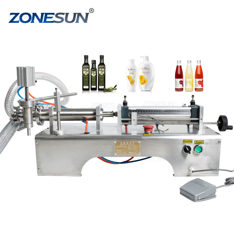 ZONESUN Pneumatic Piston Liquid Filler Shampoo Gel Water Wine Vinegar Coffee Oil Drink Detergent Filling Machine Supply