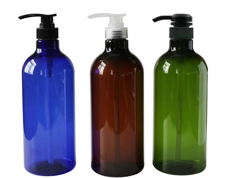300ml 500ml Amber Green Blue Plastic PET Shampoo Bottles with Black Pump LotionTop
