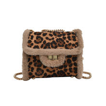 Hot Selling Fashion Plush Leopard Print Bag Winter Purse Handbags Crossbody for Women