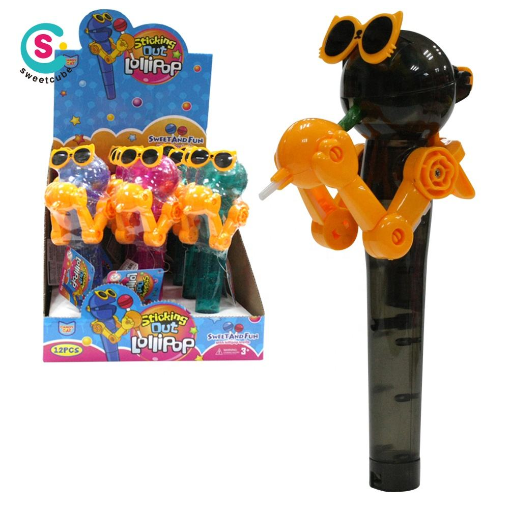plastic robot share candy lollipop candy toys for kids