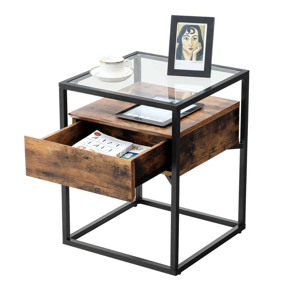 VASAGLE cheap wholesale antique style vintage rustic home bedroom furniture industrial glass end table side table night stand