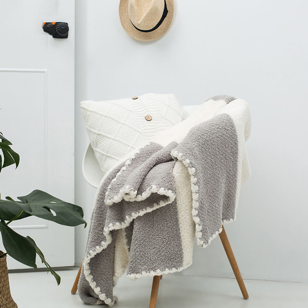 custom adult super soft 100% wool cotton office sofa warming plush flannel baby throw blanket for winter