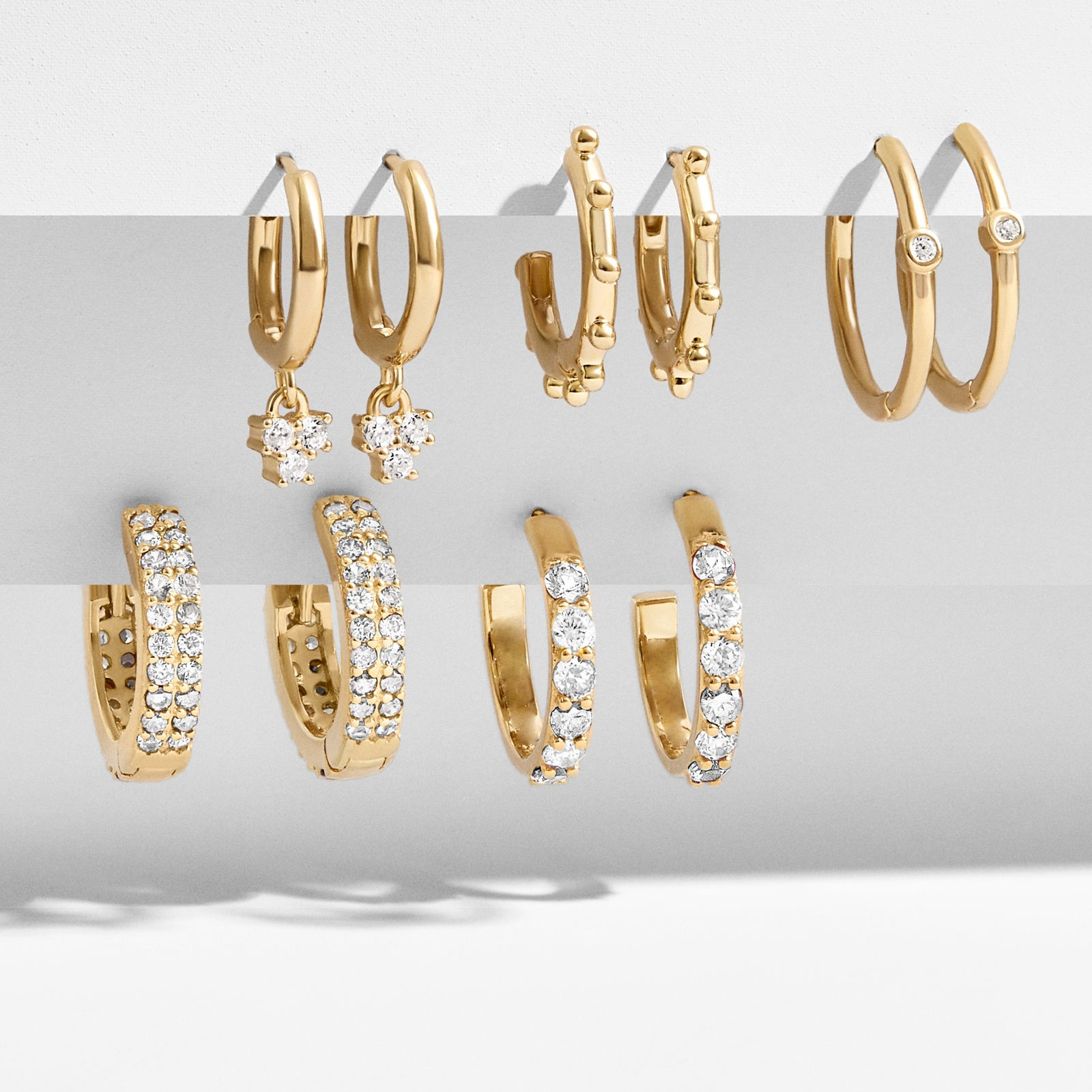 Barlaycs 2020 Hot Sale 14K Gold Plated Brass Zircon Huggie Hoop Earrings for Women Jewelry - Environmental Protection Material
