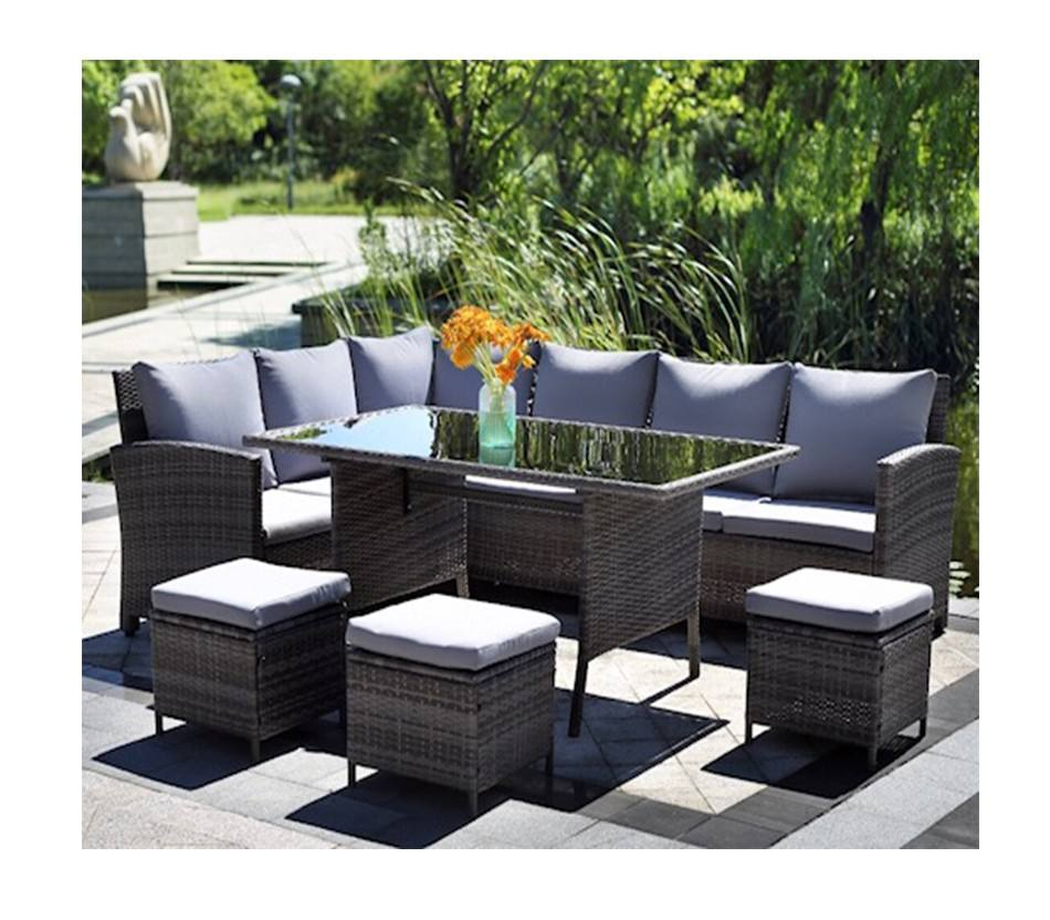 Patio Sofa Set 6 Pcs Outdoor Furniture Set PE Rattan Wicker Cushion Outdoor Garden Sofa Furniture with Coffee Table Bistro Sets