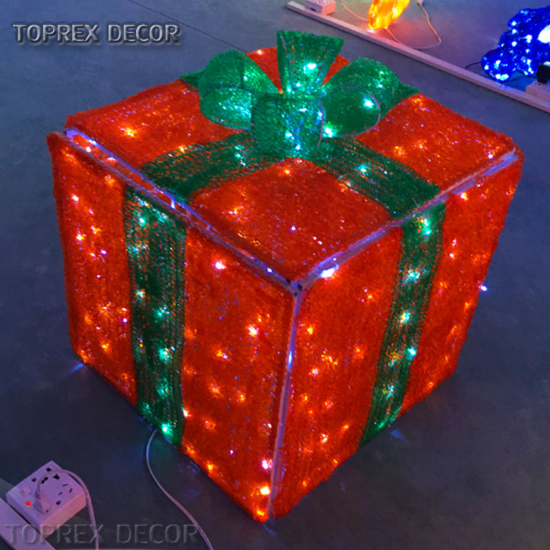 Custom made 3D Acrylic gift box for christmas decoration