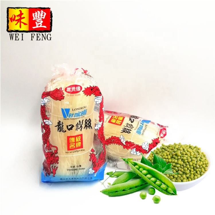 Price wholesale 250g Chinese brand Long Dried Glass Noodle Pea Mung Bean Vermicelli LongKou