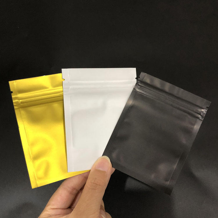 Translucent Front 7.5 cm x 10 cm clear plastic black ziplock bags with own logo Flat Mylar Foil Ziplock Bags