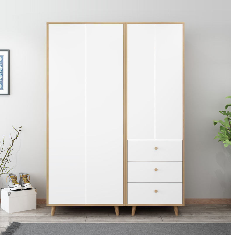 Professional Manufacture Bedroom Wardrobe For Apartment Modern Simple Swing Door Wardrobe Cabinet