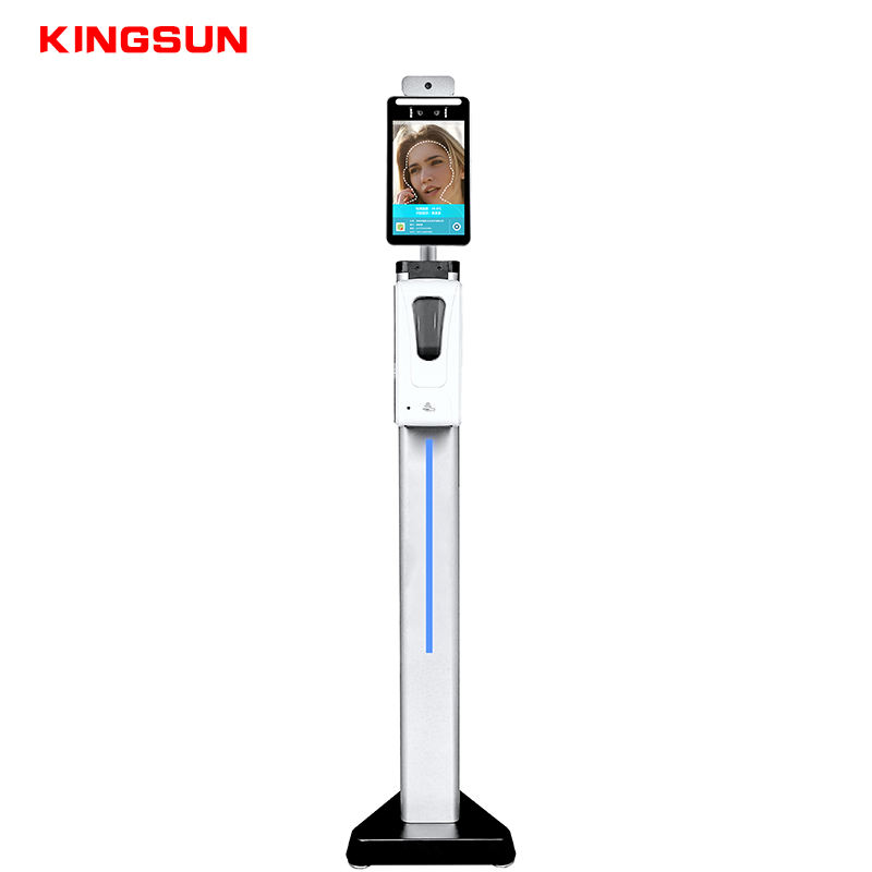 8 inch thermal camera non contact face recognition body temperature scanner with soap dispenser