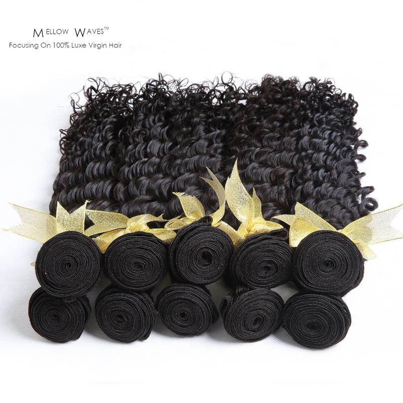 Mellow Waves Wholesale Indian Bundles Afro Kinky Curly 100%Human Raw Hair Kinky Curls Natural Color Human Hair Bundles For Lady