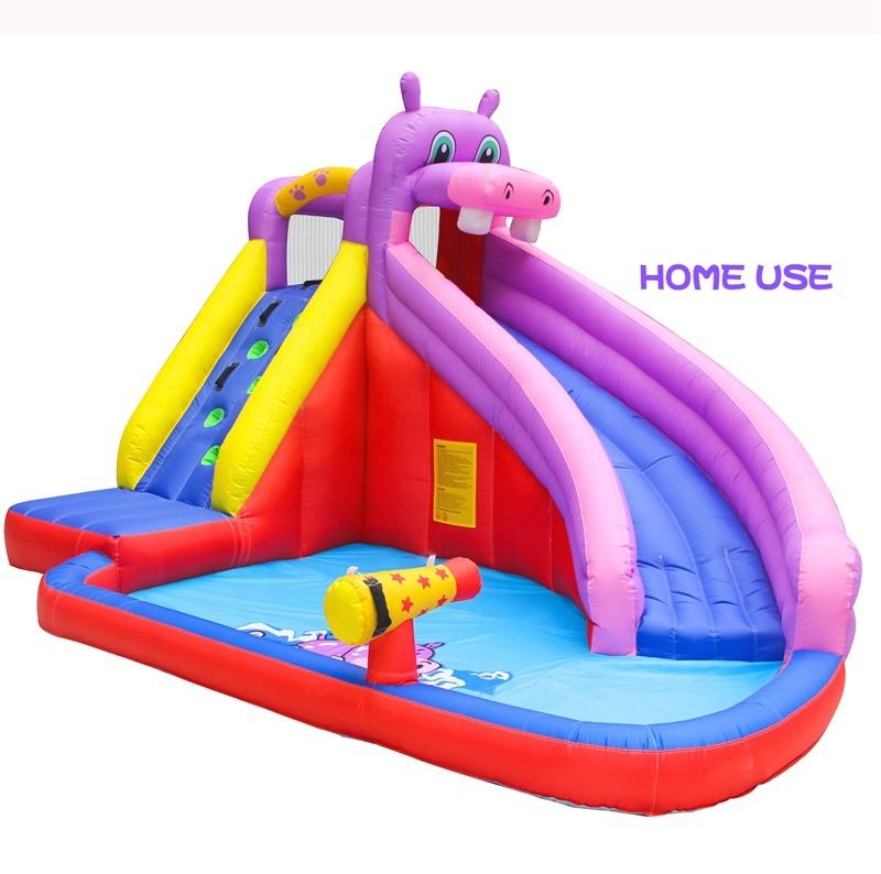 Home Use Cheap Kids Hippo Outdoor Inflatable Water Slide for Sale China