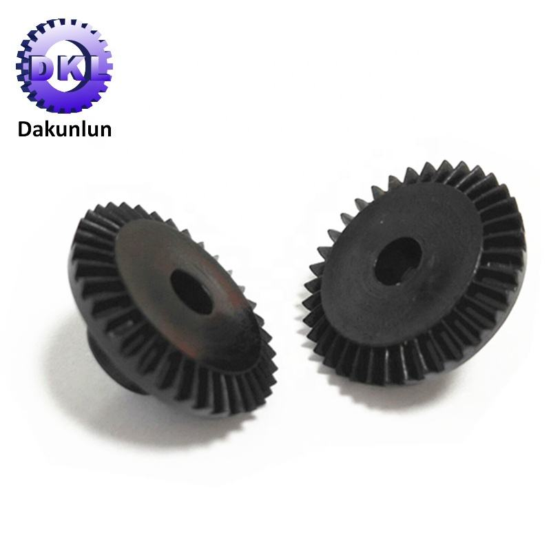 High Precision Black ABS Small Plastic Spiral Bevel Gear Pinion