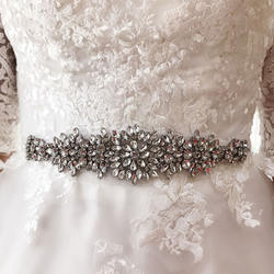 SLBRIDAL Wedding Accessories Crystal Wedding Belt Satin Rhinestone Evening Prom Dress Belt Bridal Ribbon Sash Bridesmaids Women