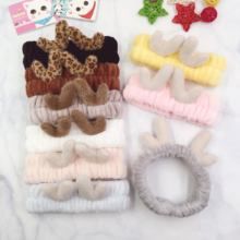 Christmas Party Headdress Sweet Plush Elastic Face Wash Deer Antler Headband