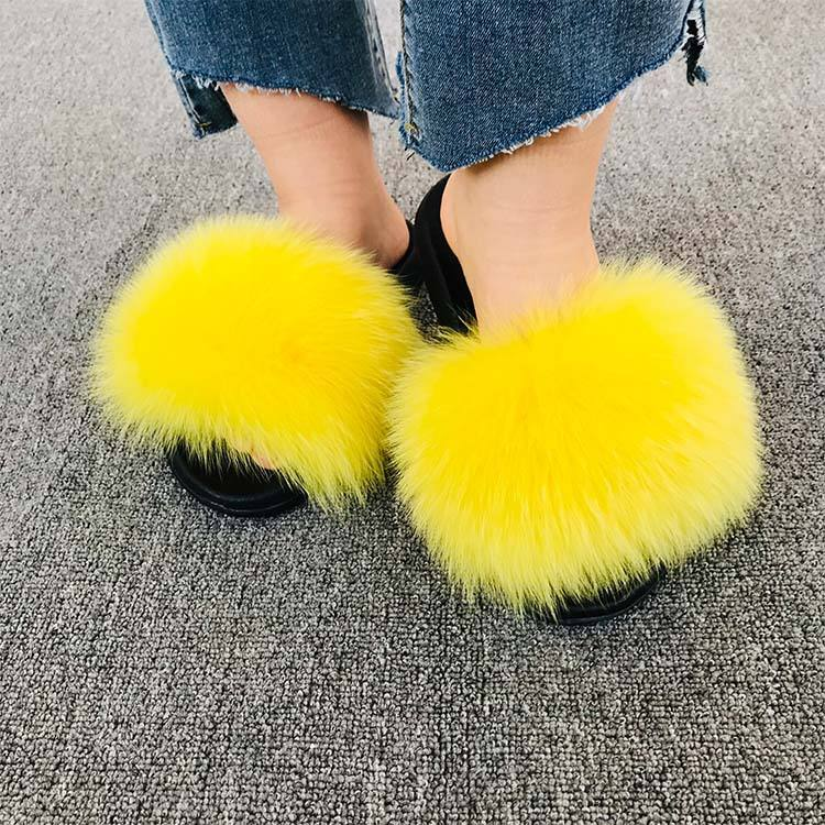 Winter New Hot Cheap Fur Slippers Real Fox Fur Sandals For Ladies Natural Fur Slippers