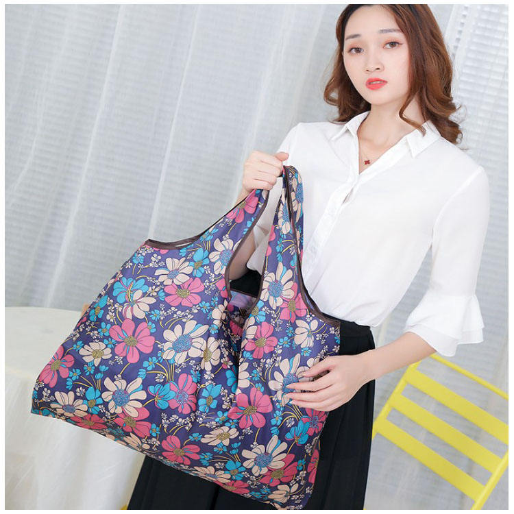 Extra Large Eco 210D oxford Promotion Folded shopping Bag Nylon Polyester Reusable Waterproof Bag