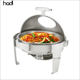 China suppliers factory wholesale cheap buffet chafing dish round stainless steel chef in dish with plastic lids