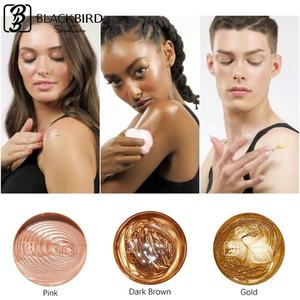 Private Label Wholesale Highlighter Bronzer Shimmering Body Cream Best Selling Long Lasting Rose Gold Highlighter Lotion
