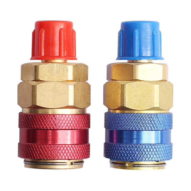 Automotive A/C R134A 1/4 quick couplers Low High Side Auto Refrigerant meter quick connector Brass Adapter