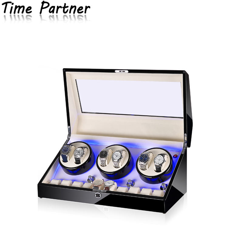 Time partner 5 stall chain mode electronic automatic discoloration watch winder, silent operation enjoys quiet life