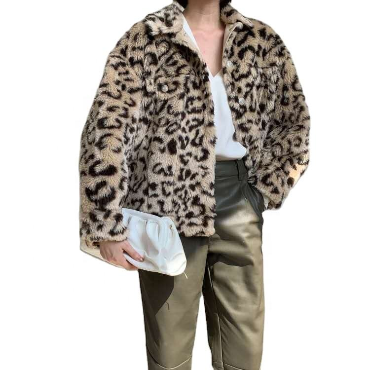 2020 New Arrivals Women Winter Leopard Print Single Breasted Faux Fur Short Coats