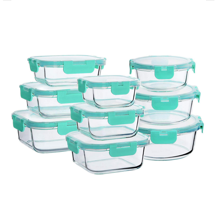 9 pack glass food storage meal prep containers set lunch box with clear transparent ms lid