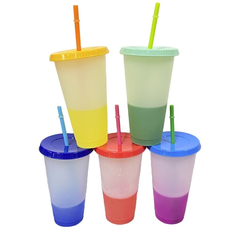 Wholesale customized Popular reusable travel Ice Cold water 700ml 24oz Change color tumbler With straw and lid