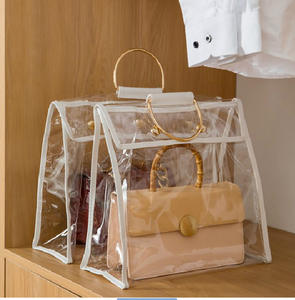Transparent PVC Shopping Bag Reusable Vinyl Dust Bag For Handbag