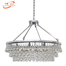 Modern Crystal Glass Drop Chandelier Lighting Round Glass Drum LED Chandelier Hanging Lamp Restaurant Hotel Living Room Lighting