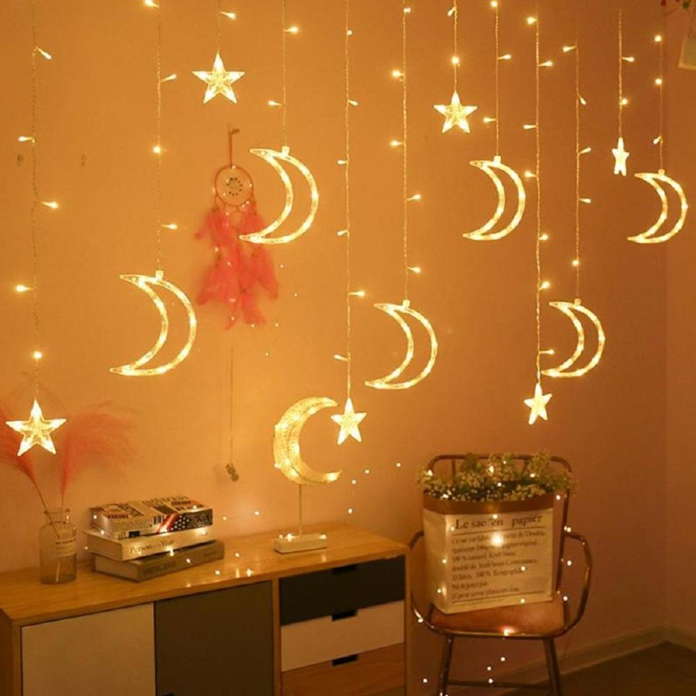 Ramadan Twinkle 138 LED Moon Star Curtain String Window Curtain Lighting with 8 Flashing Modes Decoration for Wedding Party
