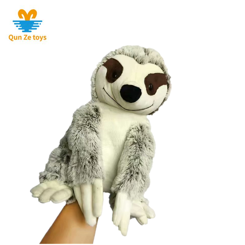 OEMcustom soft stuffed Sloth raccoon koala shaped plush toy hand puppet animal