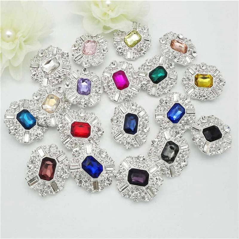 30X34MM 19Colors Gorgeous Bling Rhinestones Square Flat Backs Silver buttons Embellishment Shoe Clips Bows Flower Centers