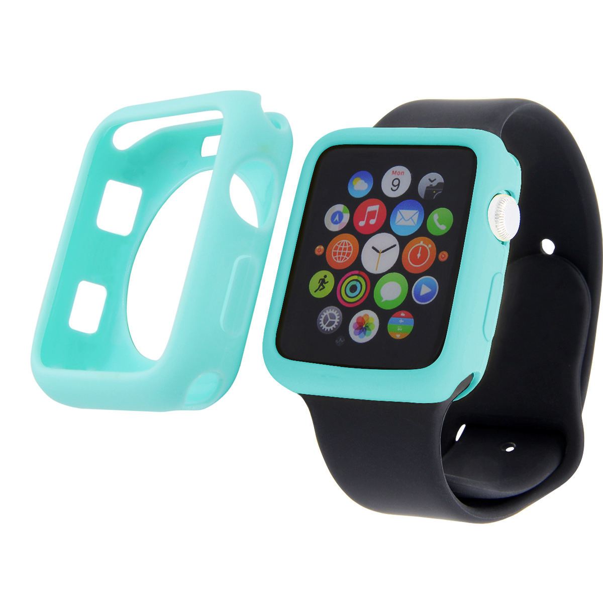 BOORUI colorful watch face cover for apple watch band with candy color protective cover for iwatch silicone case